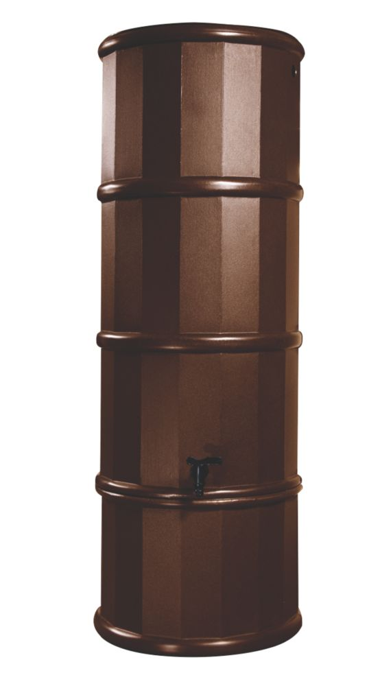 Image of Polytank Decorative Water Butt Dark Oak Effect 110Ltr