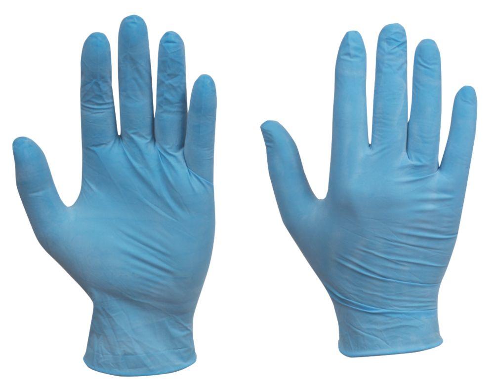 Cleangrip n/a Vinyl Powdered Powdered Disposable Gloves Blue Medium 100 Pack