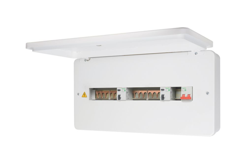 Image of Schneider Electric 100A 16-Way High Integrity 80A Dual RCD Metal Consumer Unit