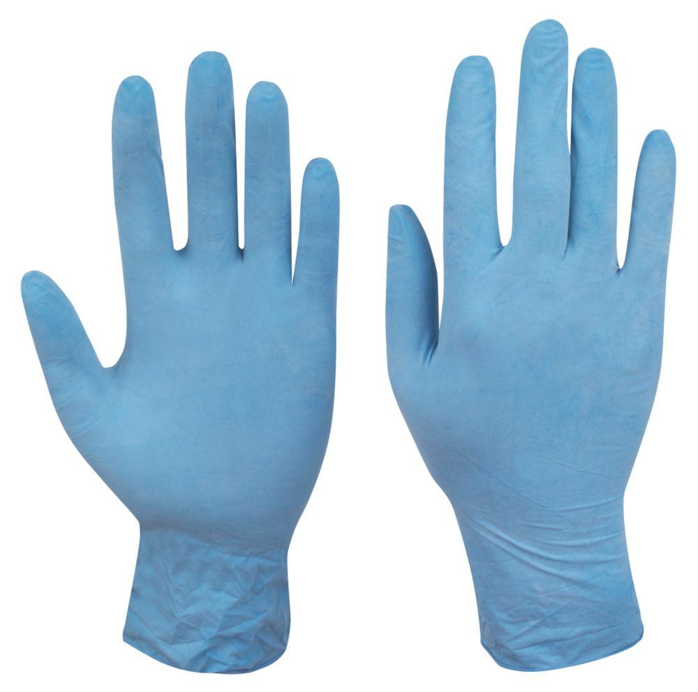 Cleangrip N/A Natural Latex Powdered Disposable Gloves Blue Medium 100 Pack