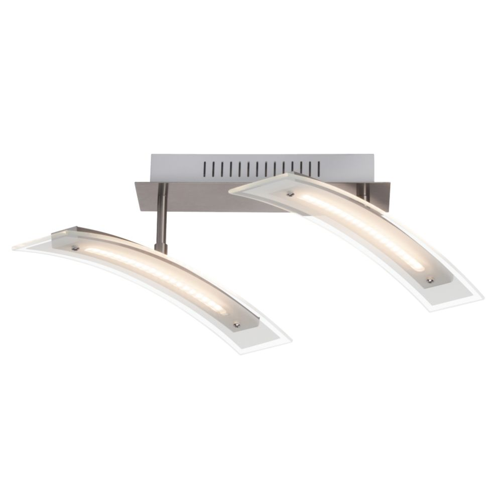 Image of Brilliant 2-Light LED Spotlight Satin Chrome 1440lm 9W