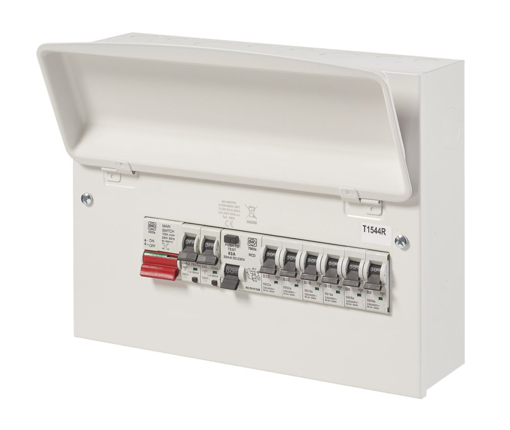 Image of MK Sentry 100A 12-Way High Integrity RCD Consumer Unit & 6xMCBs + 2xRCBOs