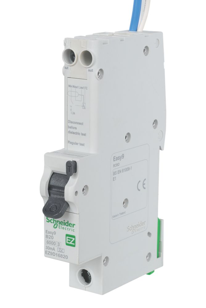 Image of Schneider Electric Easy9 20A 30mA Single Pole Type B RCBO