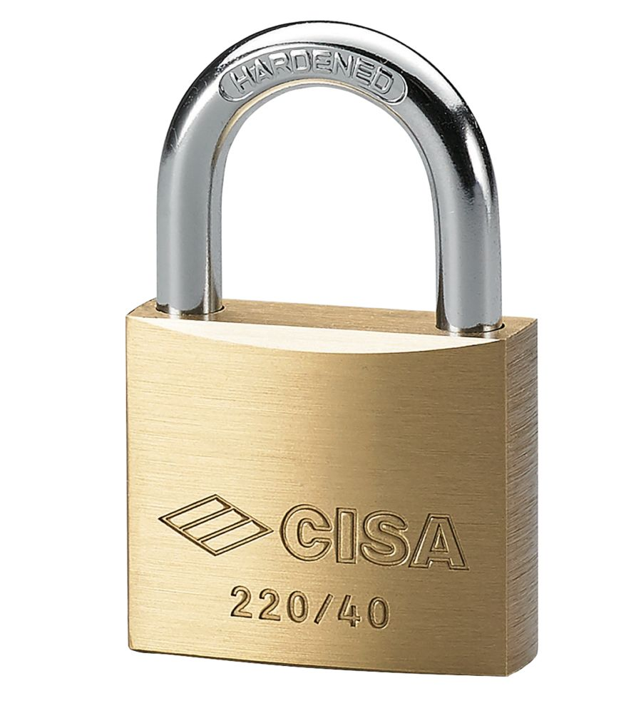 Cisa Standard Shackle Brass Padlock Max. Shackle W x H: 24 x 23mm