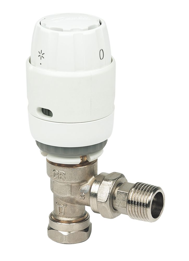 Danfoss RAS-C² White & Chrome Angled TRV 15mm