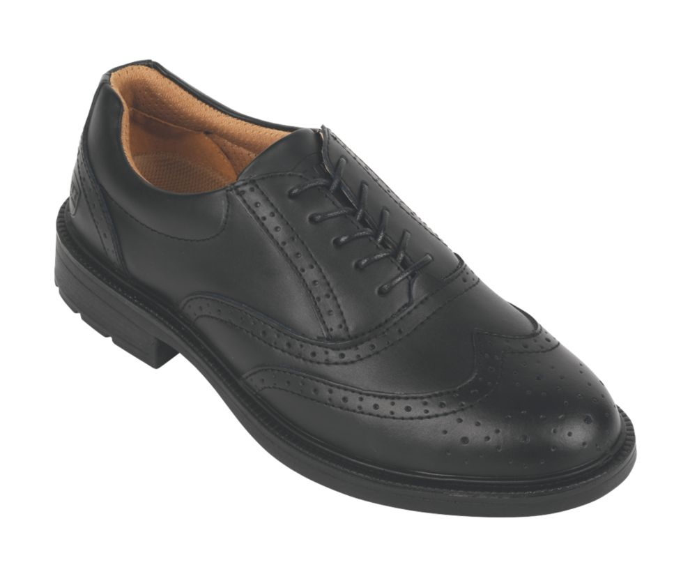 City Knights Brogue Executive Safety Shoes Black Size 10