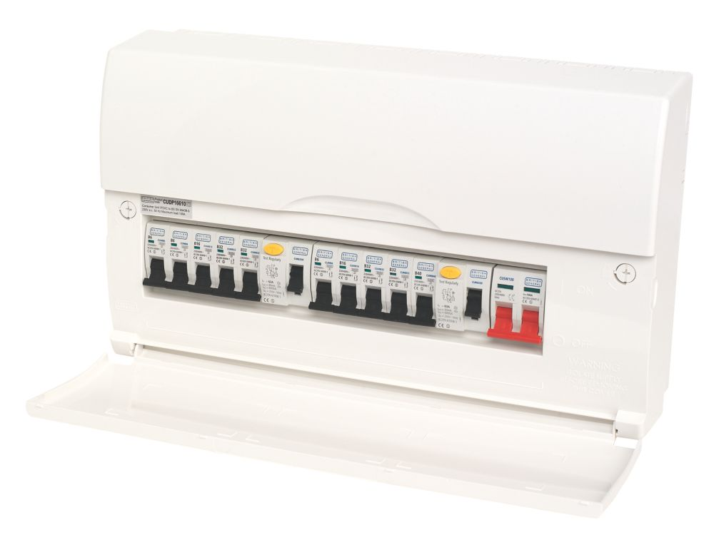 Image of BG 10-Way High Integrity Populated Insulated Consumer Unit Dual 63A RCD