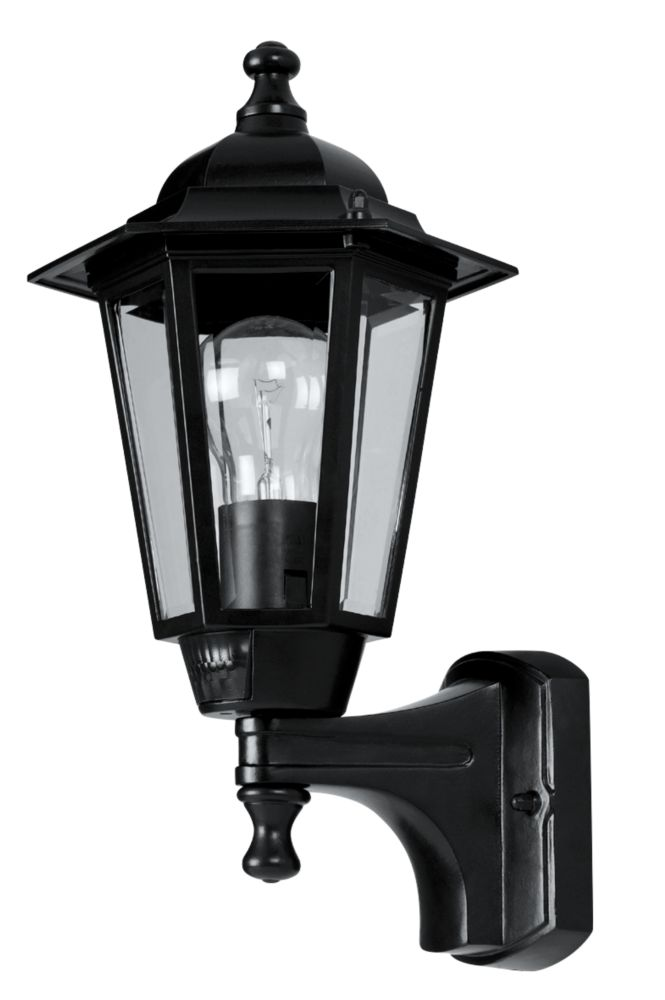 Image of 60W Black 6-Panel Coach Lantern Outdoor Wall Light PIR