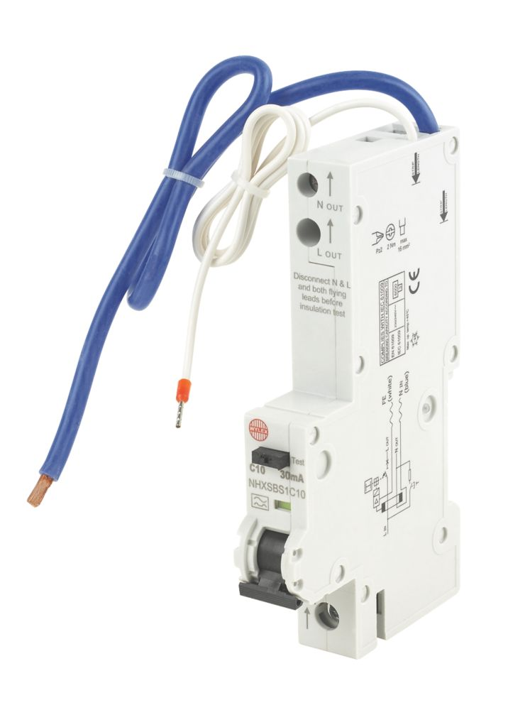 Image of Wylex 10A 30mA Single Pole Type C Curve RCBO