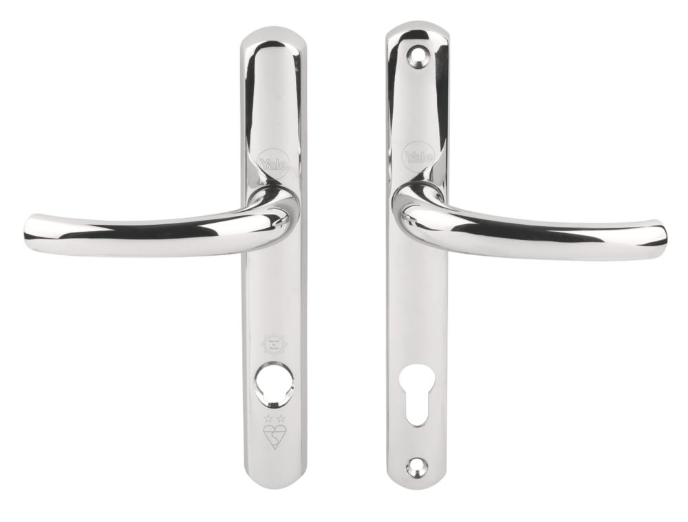 Image of Yale Platinum Security Lock Door Handles Pair Polished Chrome