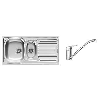 Pyramis 1½ Bowl Kitchen Sink w Tap & Drainer 18  10 Stainless Steel 1000 x 500mm