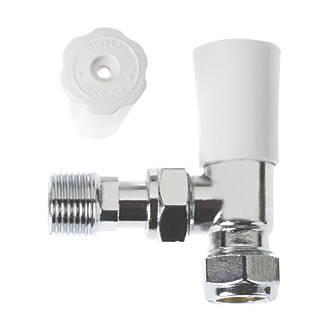 Drayton White & Chrome Angled Lockshield 15mm.