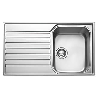 franke ascona inset sink 18 10 stainless steel 1 bowl 860 x 510mm stainless steel sinks screwfixcom - Frank Kitchen Sink