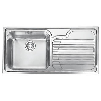franke inset kitchen sink 18 10 stainless steel 1 bowl 1000 x 500mm sinks screwfixcom. Interior Design Ideas. Home Design Ideas