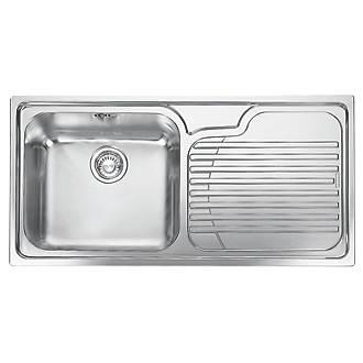 franke inset kitchen sink 18 10 stainless steel 1 bowl 1000 x 500mm stainless steel sinks screwfixcom - Kitchen Sink
