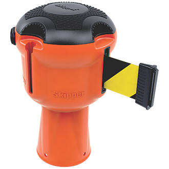 Skipper Retractable Barrier Orange with BlackYellow Tape