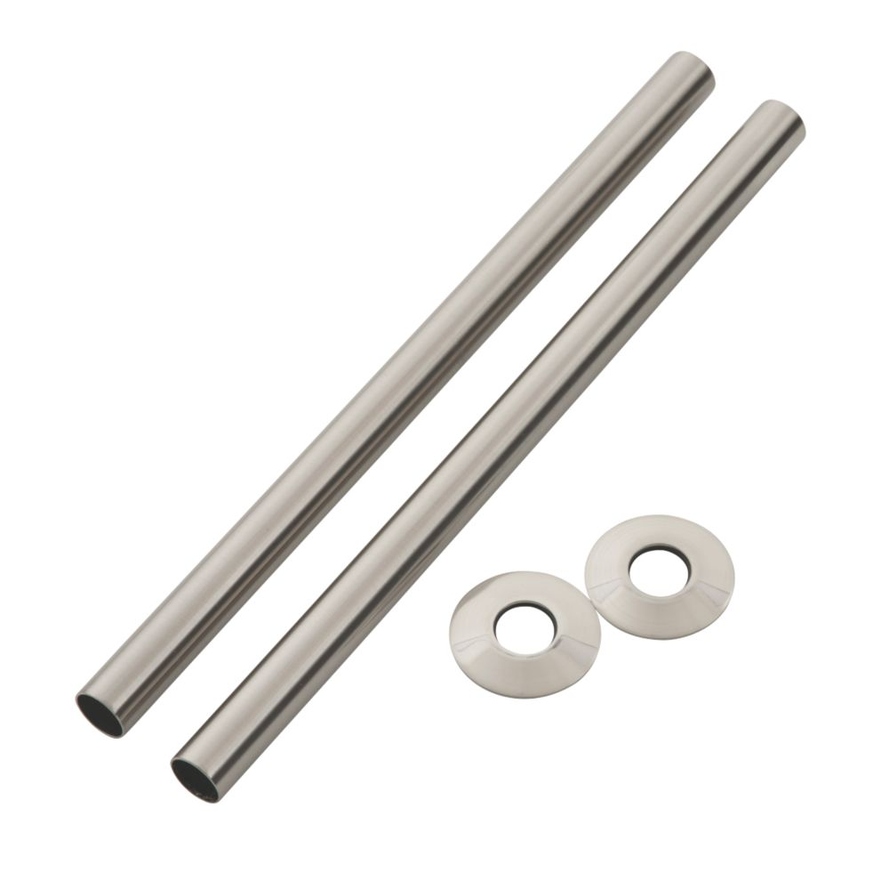 Arroll Pipe Shroud Kit Brushed Nickel 18 x 300mm 2 Pack