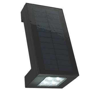 Matt Black Angled Solar Powered Wall Lamp 2W