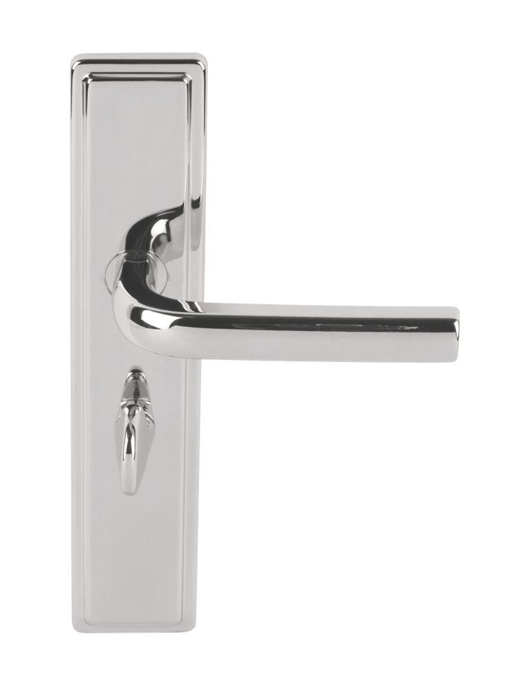 Image of Urfic Westminster Bathroom Door Handles Pair Polished Nickel