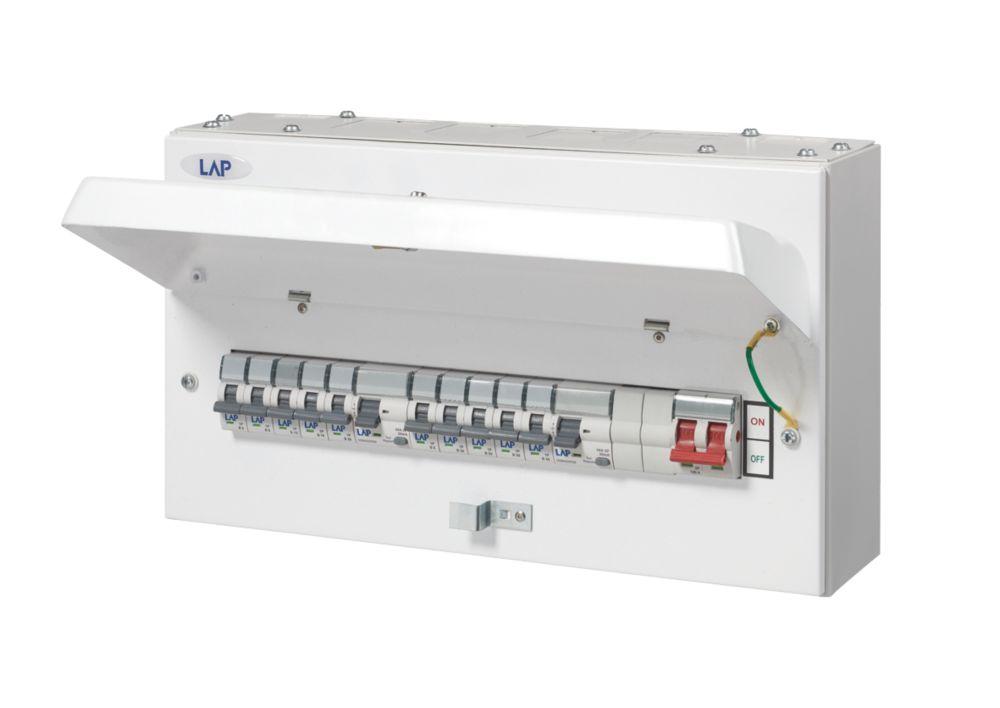 Image of LAP 12-Way Metal Dual RCD Metal Consumer Unit & 10 MCBs