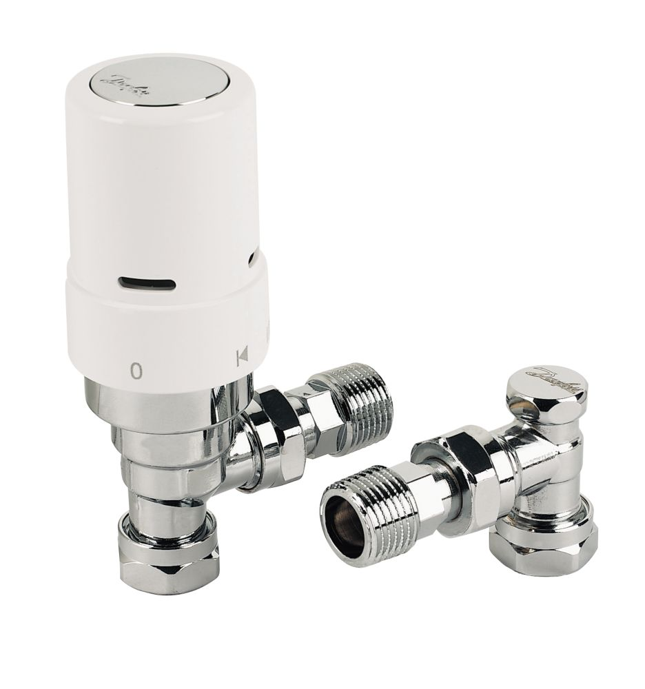 Danfoss RAS-D² White & Chrome Angled TRV & Lockshield 8/10/15mm