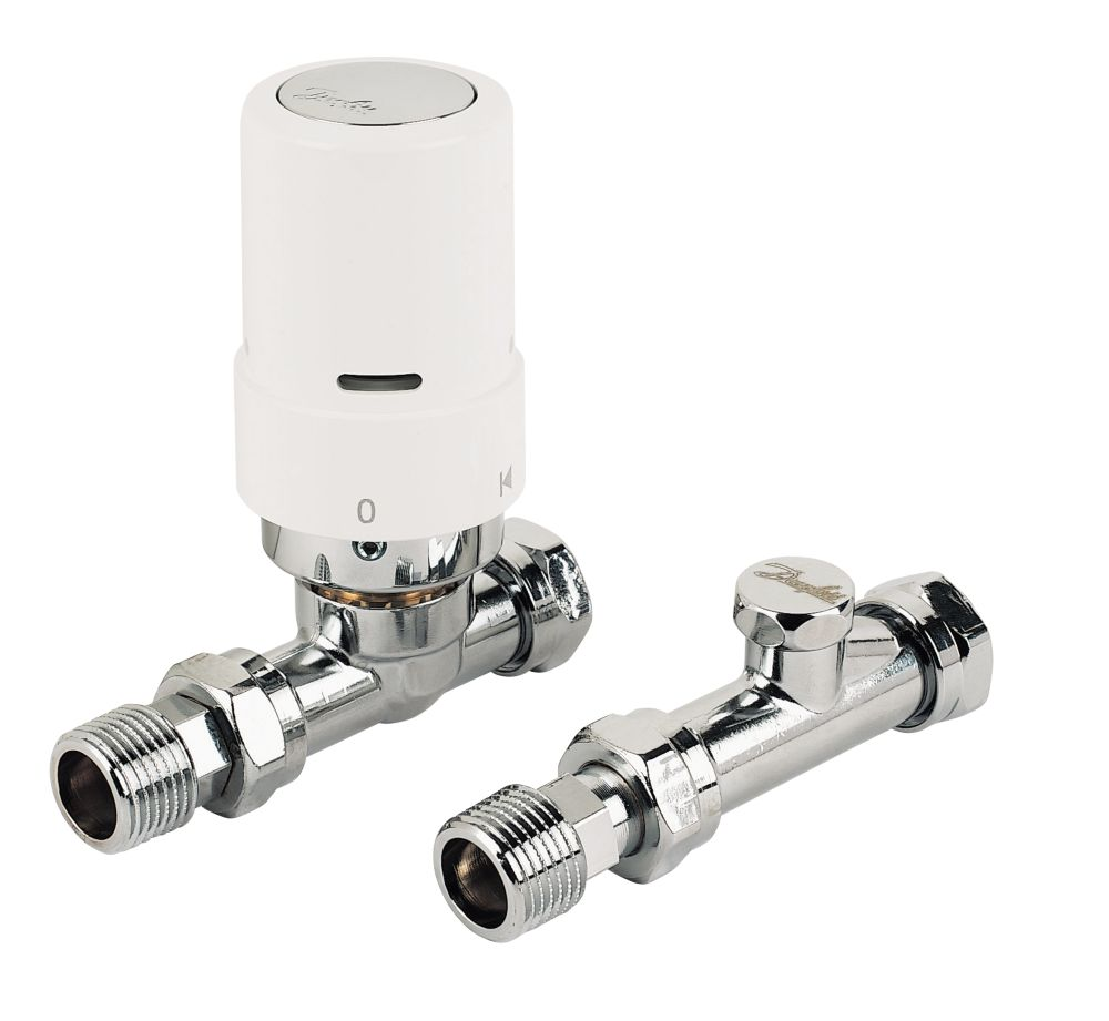 Danfoss RAS-D² White & Chrome Straight TRV & Lockshield 8/10/15mm
