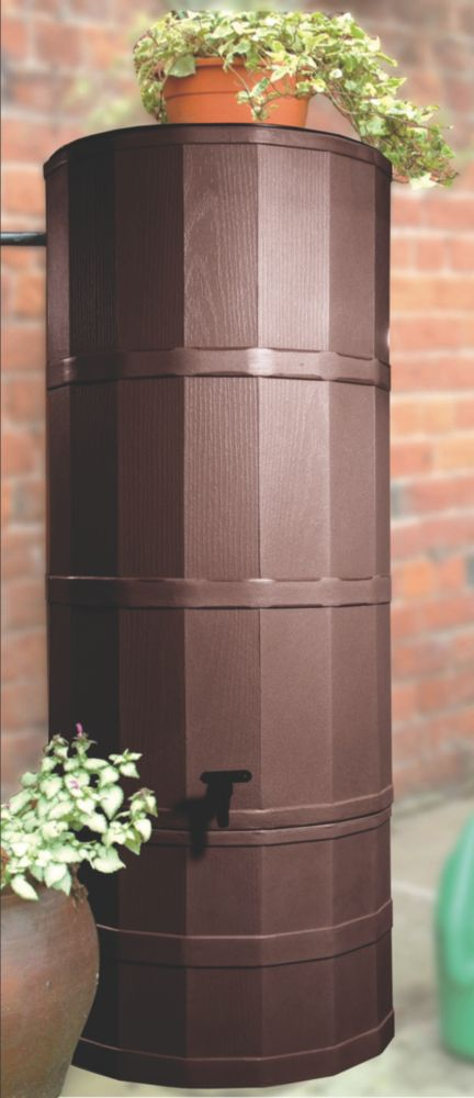 Image of Polytank Decorative Water Butt Dark Oak Effect 220Ltr