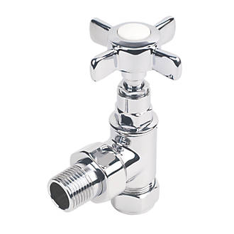 Bologna White & Chrome Angled Radiator Valve 15mm 2 Pack