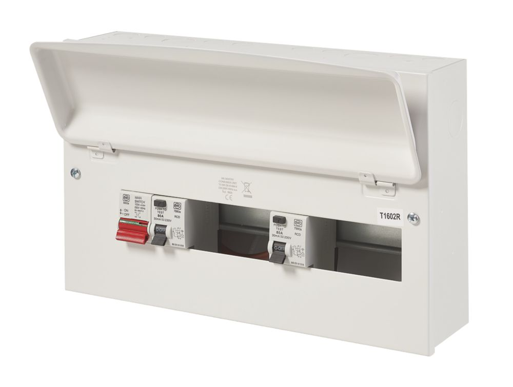 Image of MK Sentry 100A 16-Way Dual RCD Metal Consumer Unit & 2 x 80A RCDs
