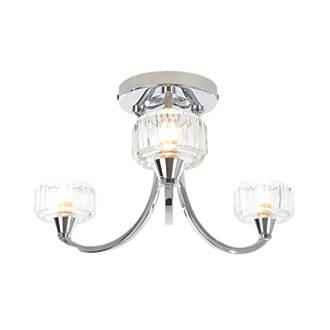 Screwfix Bathroom Lighting: Spa Octans 3-Light Bathroom Ceiling Light Chrome G9 28W,Lighting