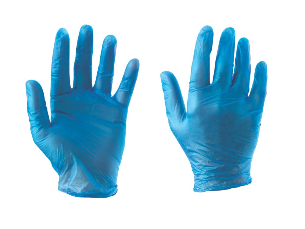 Cleangrip n/a Vinyl Powdered Disposable Gloves Blue Large 100 Pack