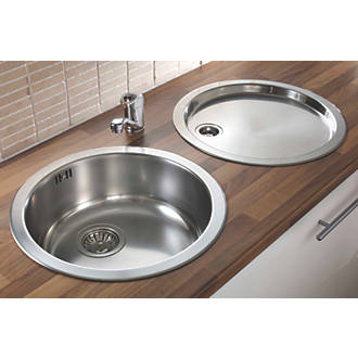 Pyramis 1 Bowl Kitchen Sink with Tap & Drainer 18 / 10 Stainless Steel 450 x 450mm