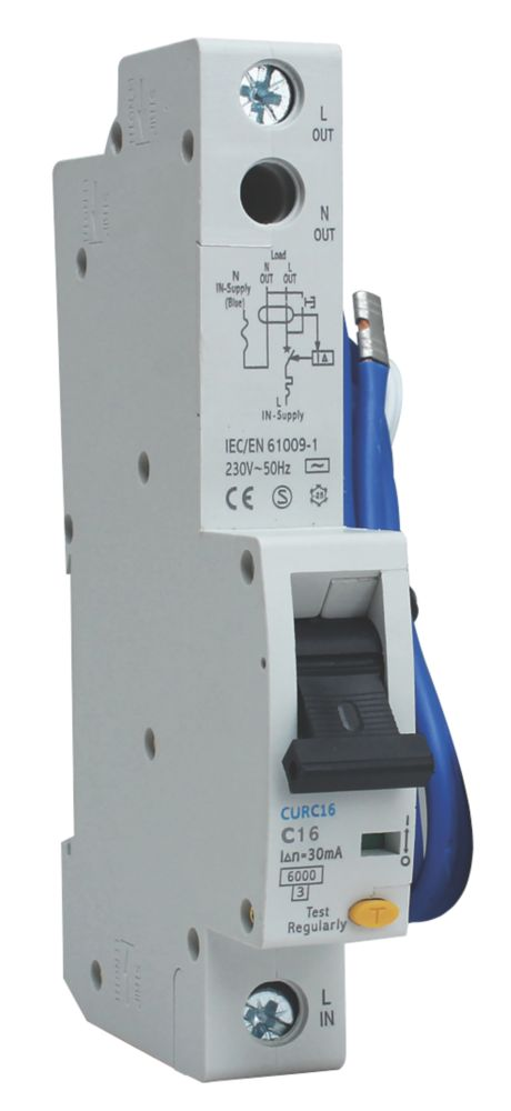BG 16A 30mA Single Pole Type C RCBO
