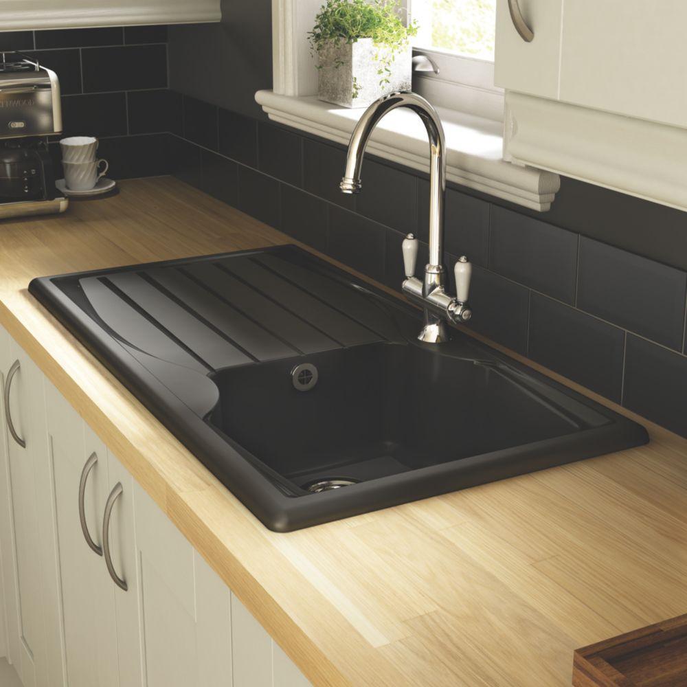 Astracast Kitchen Sink Black 1-Bowl Reversible 980 x 183mm
