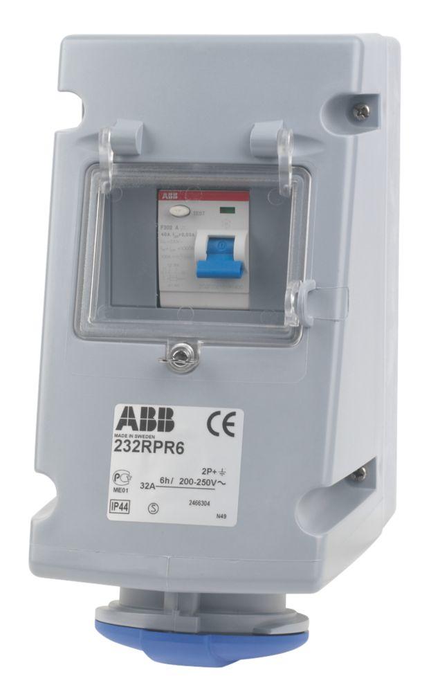 ABB Socket 32A 2P+E 250V IP44 w/ 25A RCD