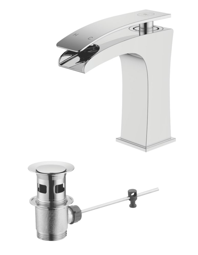 Watersmith Heritage Como Bathroom Waterfall Basin Mixer Tap w/ Pop-Up Waste