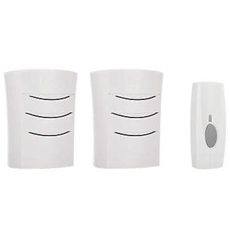 Wireless 60m Twin Portable / Plug-in Door Chime with Li-Ion Bell Push White.