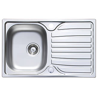 Astracast Cascade Kitchen Sink Satin Polish Stainless Steel 1-Bowl 800 x 500mm