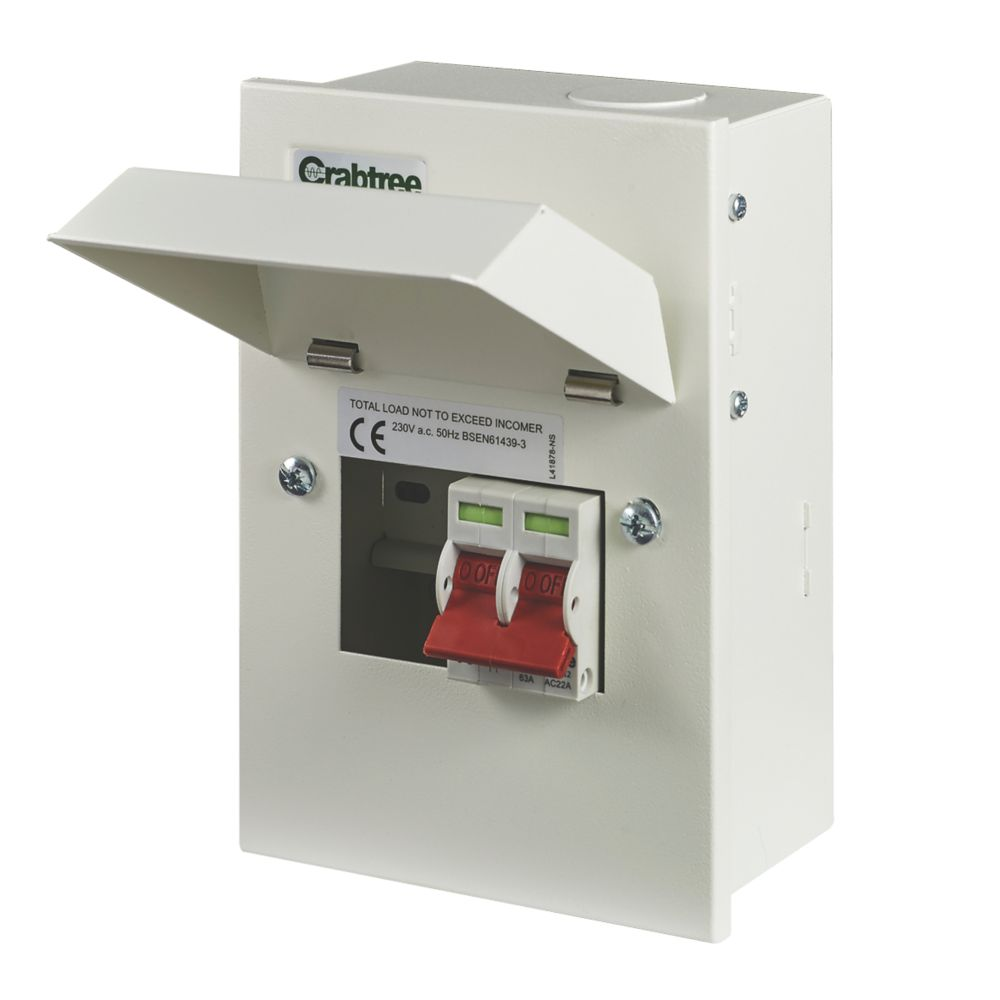 Crabtree Starbreaker 2-Way Metal Consumer Unit with 63A Main Switch