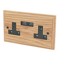 Varilight 13A 2-Gang Socket & 2.1A 2G USB Charging Ports Classic Oak