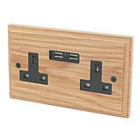 Varilight 13A 2-Gang Socket & 2.1A 2G USB Charging Ports Classic Oak