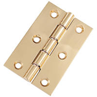 Double Phosphor Bronze Washered Hinges Polished Brass 76 x 51mm 2 Pack