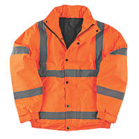"Hi-Vis Waterproof Bomber Jacket Orange Large 42-44"" Chest"