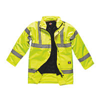 "Dickies Hi-Vis Motorway Safety Jacket Saturn Yellow XXXX Large 62"" Chest"