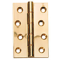 Double Phosphor Bronze Washered Hinges Polished Brass 102 x 67mm 2 Pack