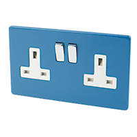 Varilight 2-Gang 13A DP Switched Socket Cobalt Blue