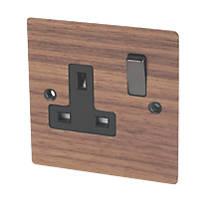Varilight 13A DP 1-Gang Switched Socket Solo Wood Walnut