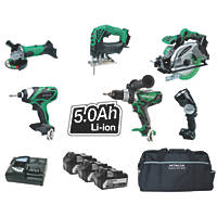 Hitachi KTL618SJ/JJ3 18V 5.0Ah Li-Ion Cordless 6-Piece Kit