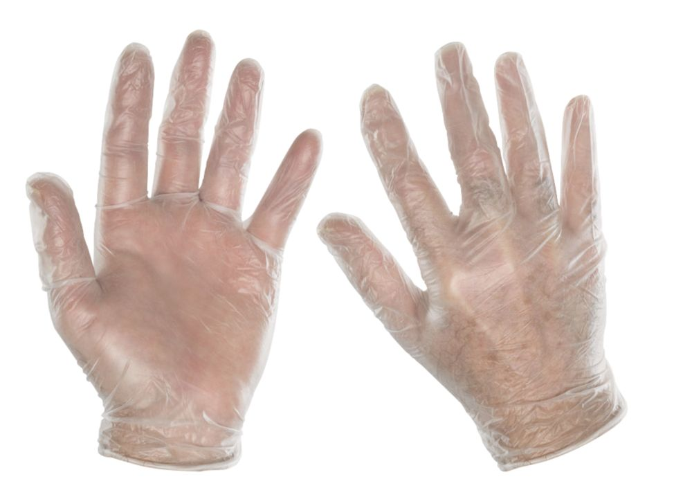 Clean Grip 100% Vinyl Disposable Gloves Clear Large Pack of 100