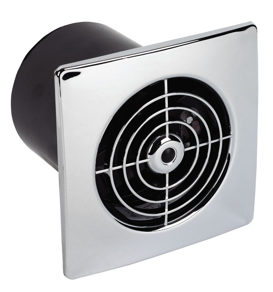 Manrose Chrome Ceiling / Wall Mounted 20W Extractor Fan + Timer